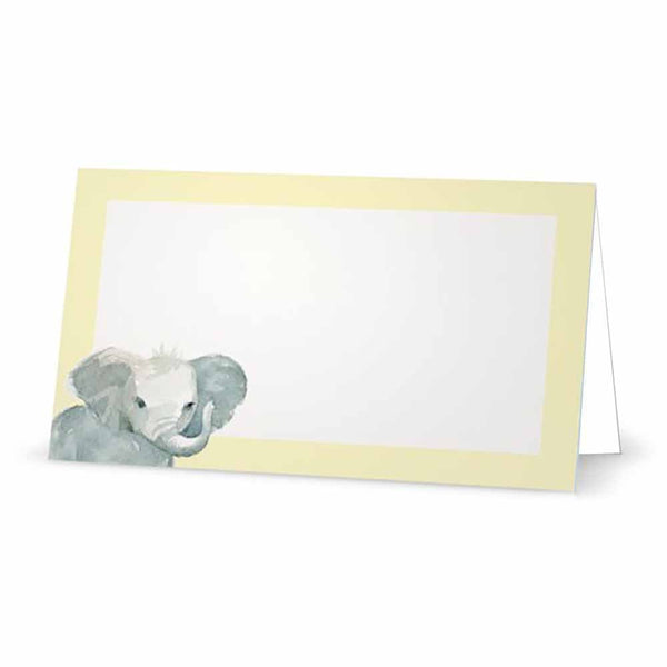 Pastel Yellow Baby Elephant Place Cards - Tent Style