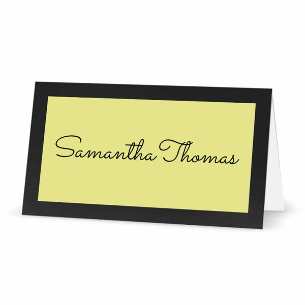 "Labels for Place Cards with Borders - 3"" x 1.5"" - PASTEL YELLOW"