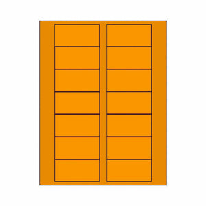 "Labels for Place Cards with Borders - 3"" x 1.5"" - FLUORESCENT ORANGE"