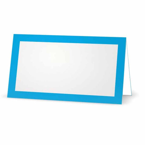 Bright blue place cards.