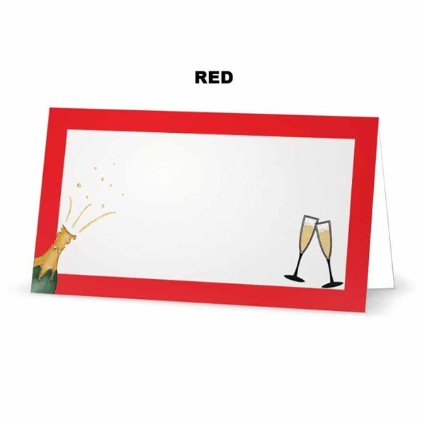 Champagne place cards. Red