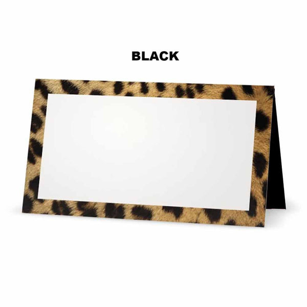 Cheetah animal print place cards. Black