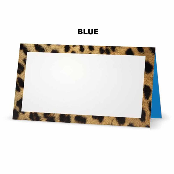 Cheetah animal print place cards. Blue