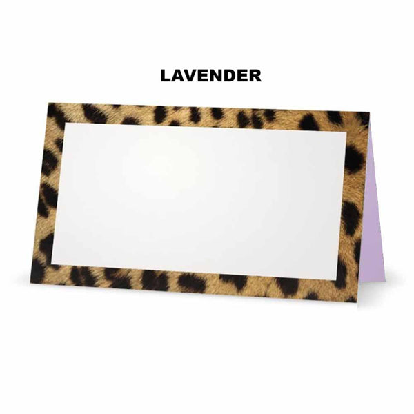 Cheetah animal print place cards. Lavender
