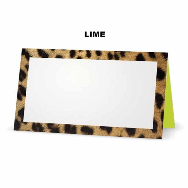 Cheetah animal print place cards. Lime