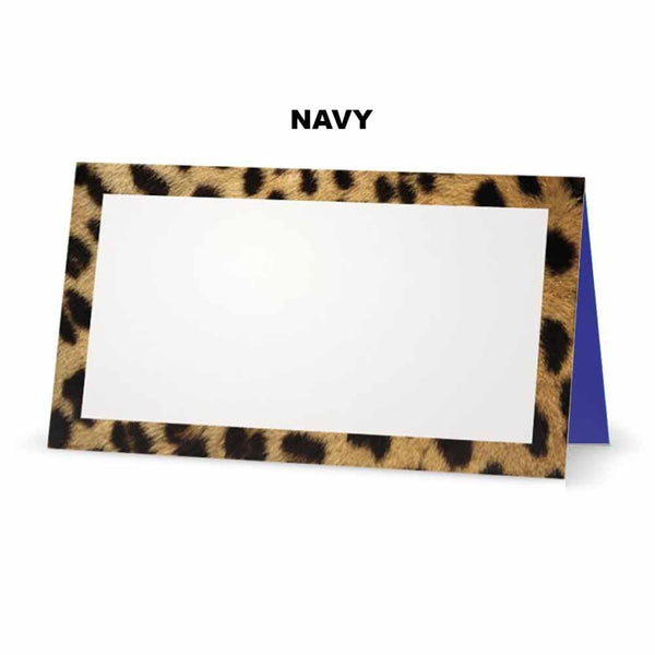 Cheetah animal print place cards. Navy Blue