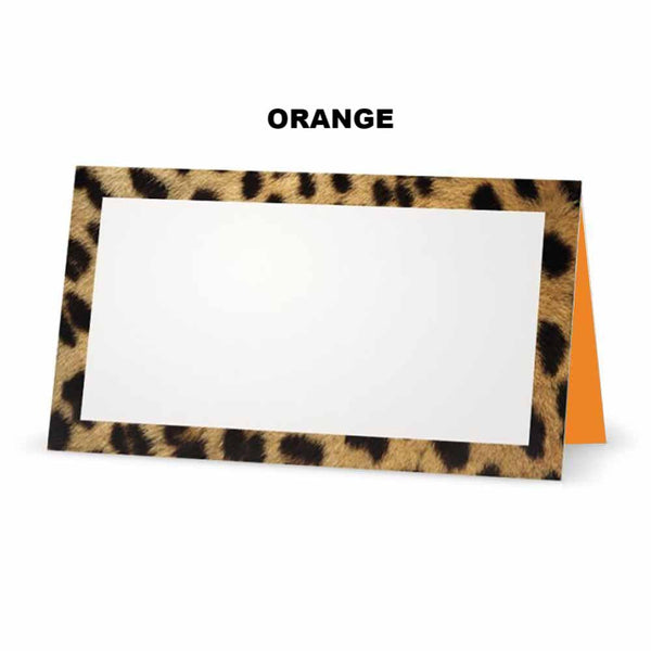 Cheetah animal print place cards. Orange