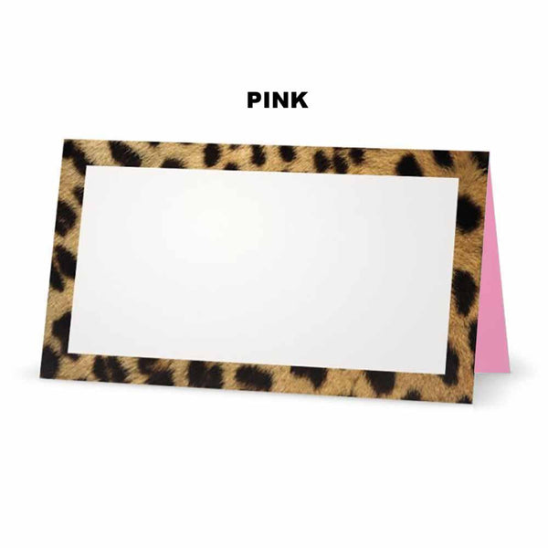 Cheetah animal print place cards. Pink