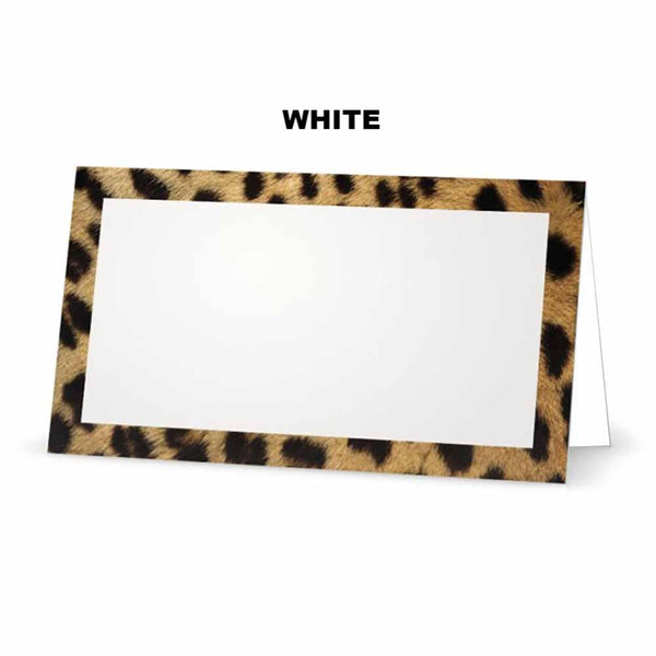 Cheetah animal print place cards. White