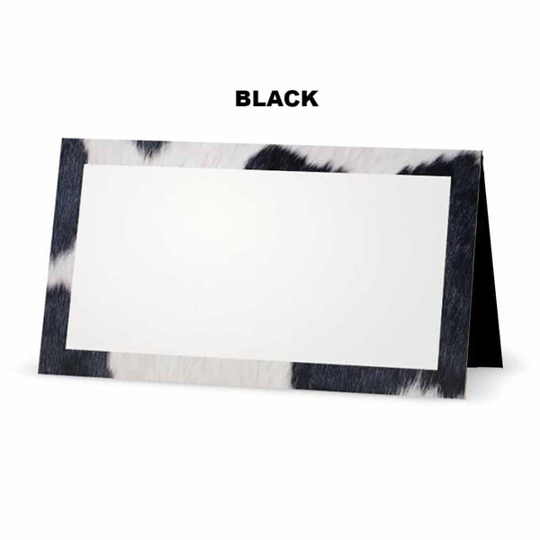 Cow Print Place Cards black