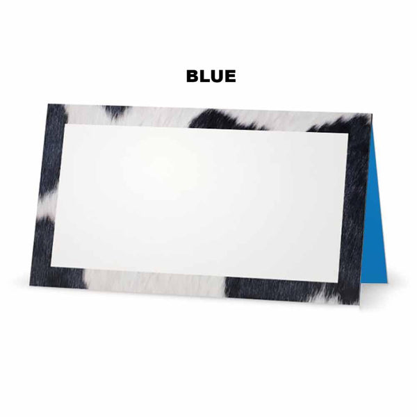Cow Print Place Cards blue