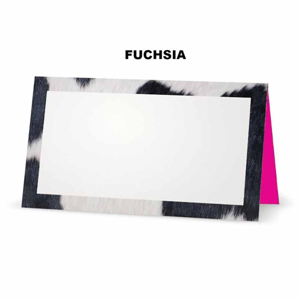 Cow print place cards fuchsia