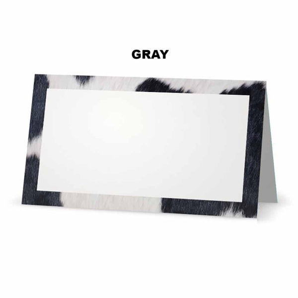 Cow print place cards gray