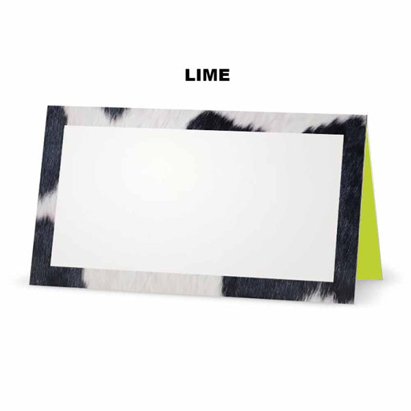 Cow print place cards lime