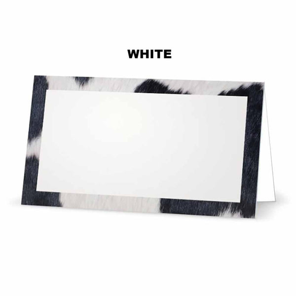 Cow Print Place Cards white