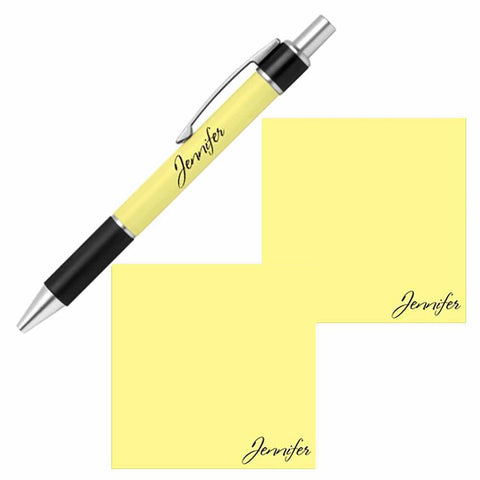 Personalized Name Pen and Sticky Notes Gift Set - Lemon