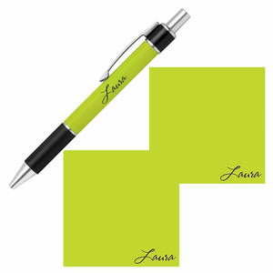 Personalized Name Pen and Sticky Notes Gift Set - Lime