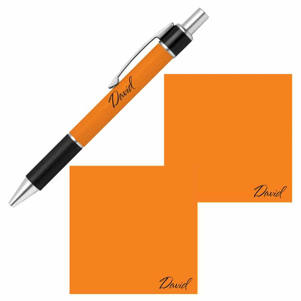Personalized Name Pen and Sticky Notes Gift Set - Orange