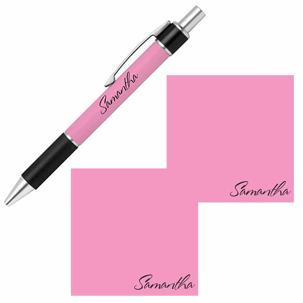 Personalized Name Pen and Sticky Notes Gift Set - Pink
