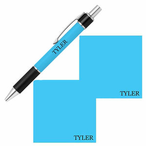 Personalized Name Pen and Sticky Notes Gift Set - Turquoise