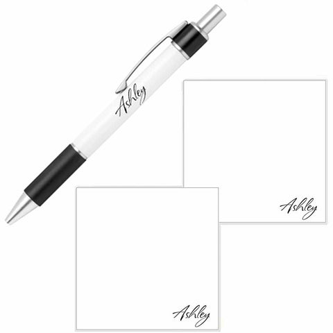 Personalized Name Pen and Sticky Notes Gift Set - White