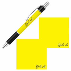 Personalized Name Pen and Sticky Notes Gift Set - Yellow