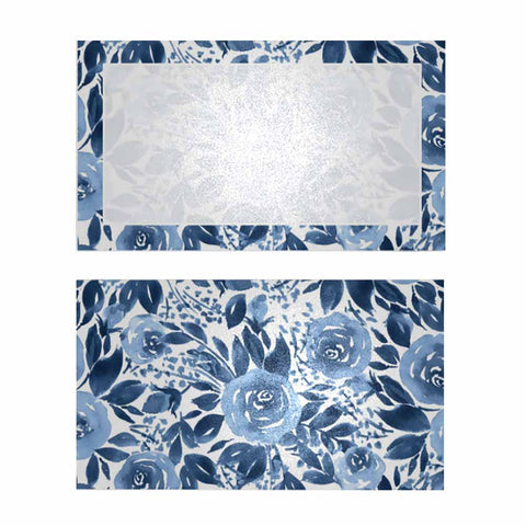 Blue Nightingale Place Cards with Pearl Shimmer - Flat Style