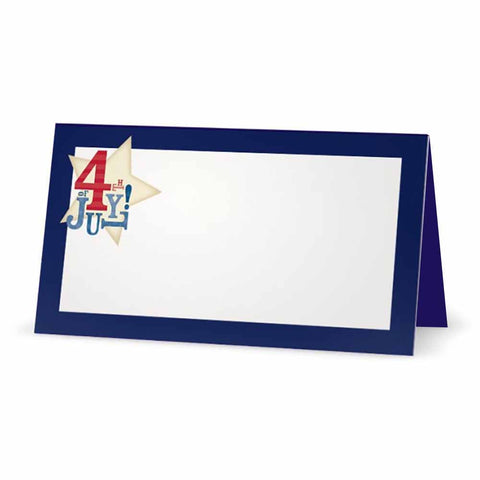 Fourth of July with Stars Place Cards - Navy
