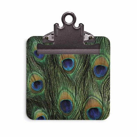 Peacock Print Sticky Note Clipboard
