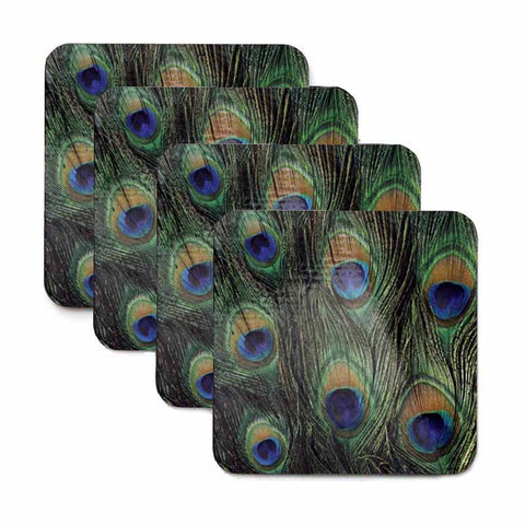 Peacock Print Coaster Set