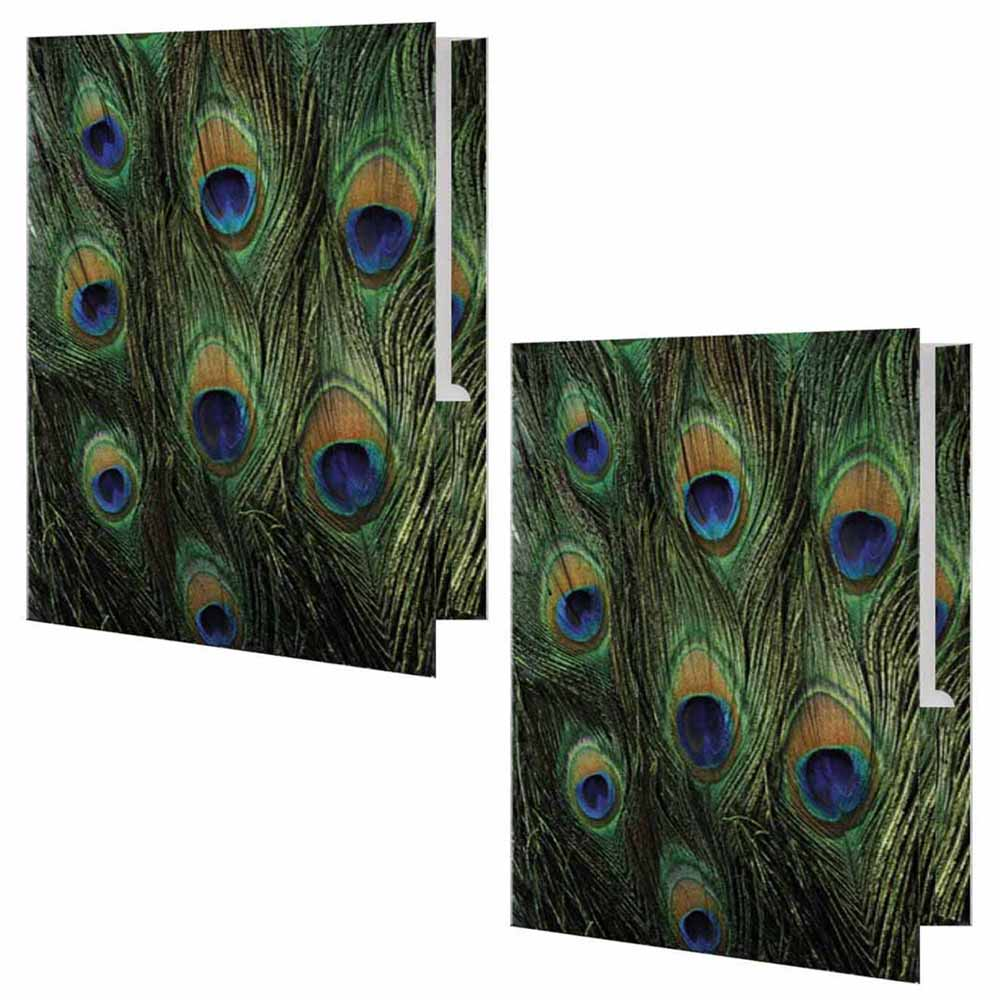 Peacock Print Folder - Set of 2