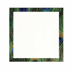 Peacock Print Border Sticky Notes - Blank or Personalized