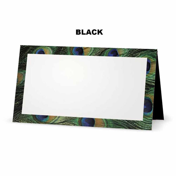 Peacock print place cards.  Black