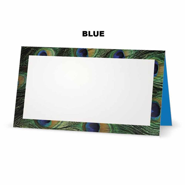 Peacock print place cards. Blue