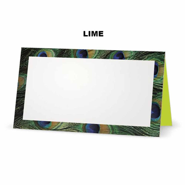 Peacock print place cards. Lime