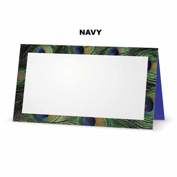 Peacock print place cards. Navy Blue