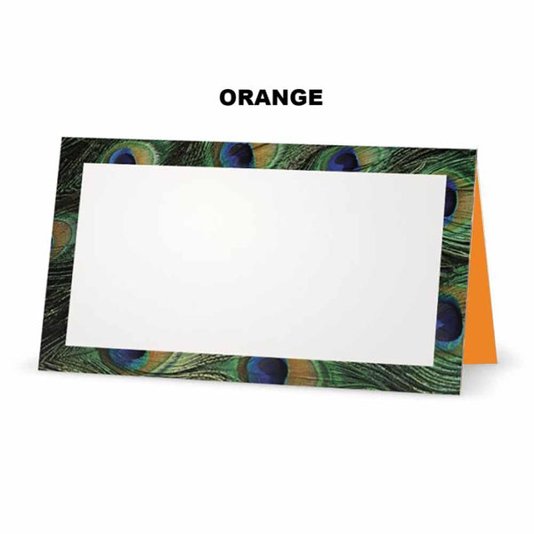 Peacock print place cards. Orange
