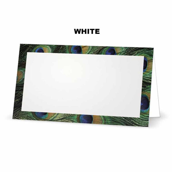 Peacock print place cards. White