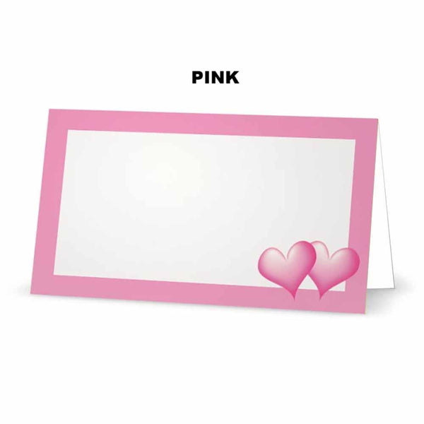 Pink Hearts Place Cards  - Tent Style - SELECT COLOR