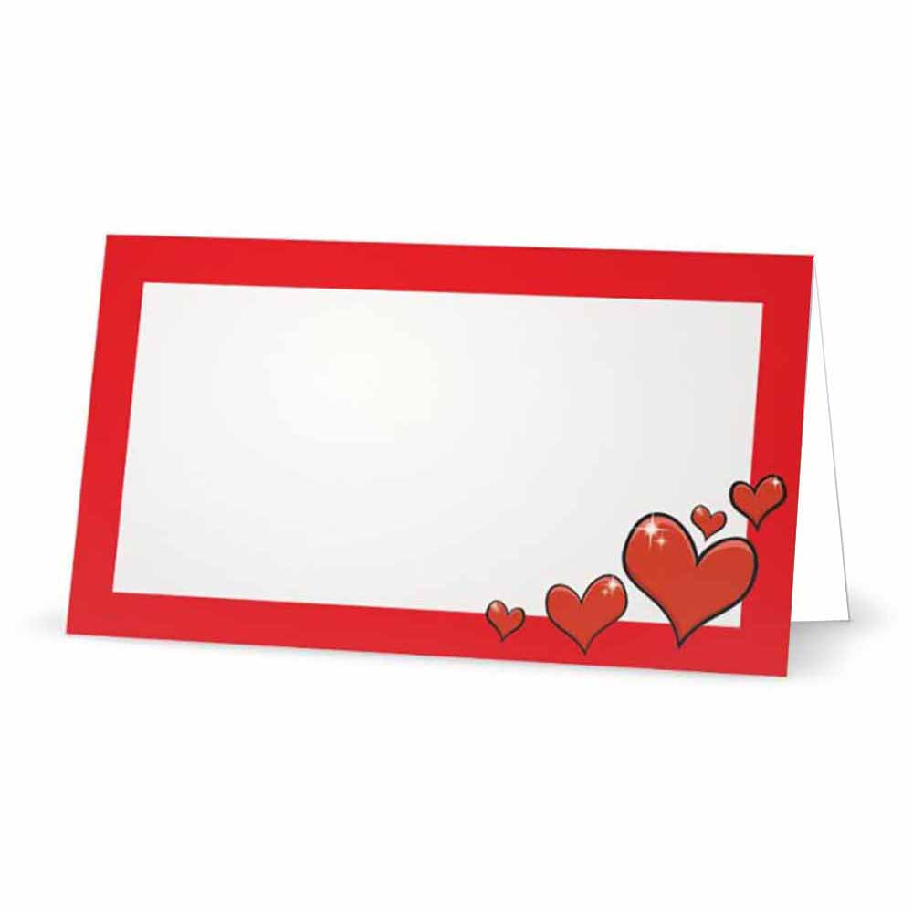 Red Hearts Place Cards - Tent Style - SELECT COLOR
