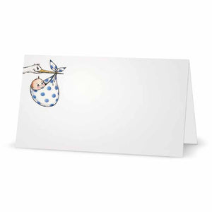 Stork and Baby Boy Place Cards - Tent Style