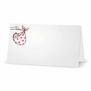 Stork and Baby Girl Place Cards - Tent Style