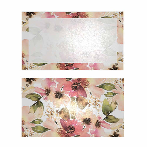 Sweet Floral Place Cards with Pearl Shimmer - Flat Style
