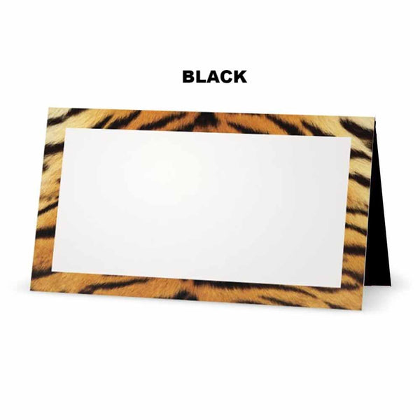 Tiger print place cards. Black