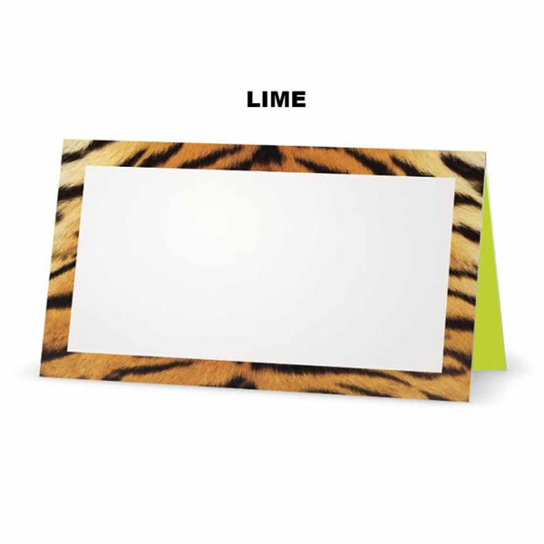 Tiger print place cards. Lime