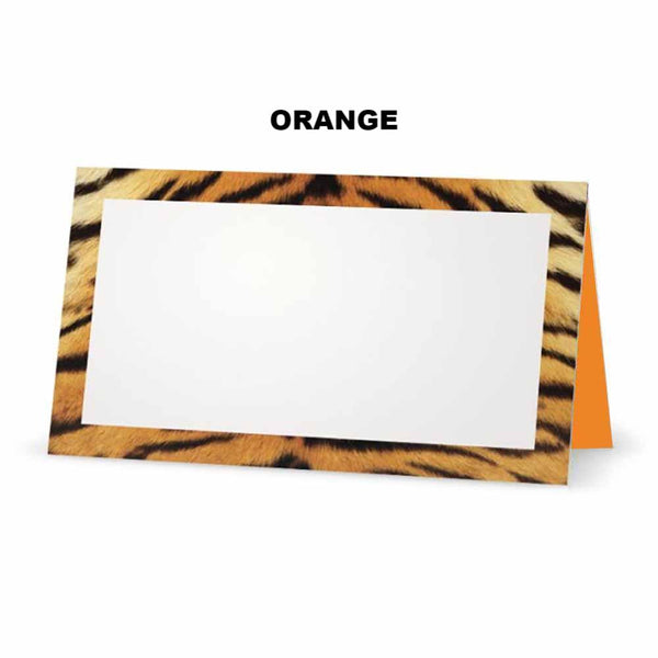Tiger print place cards. Orange
