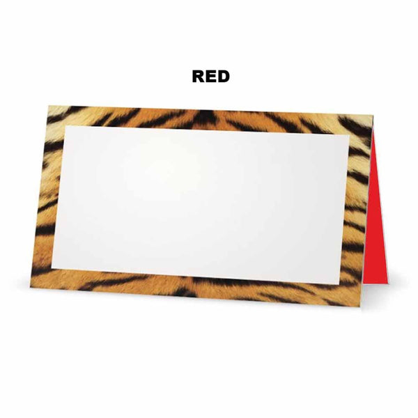 Tiger print place cards. Red