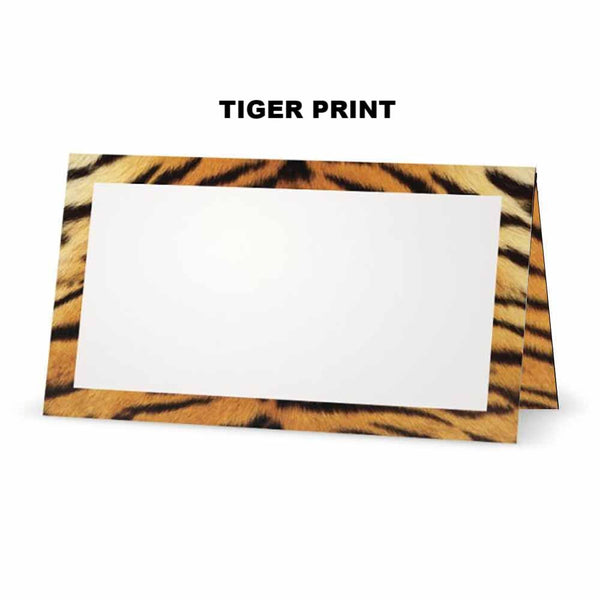 Tiger print place cards.