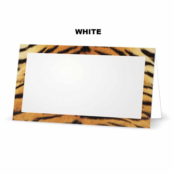 Tiger print place cards. White
