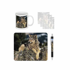 Wolf on Rocks Desk Gift Set